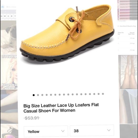 7ddf363e9a62 YELLOW Leather Loafers - NIB